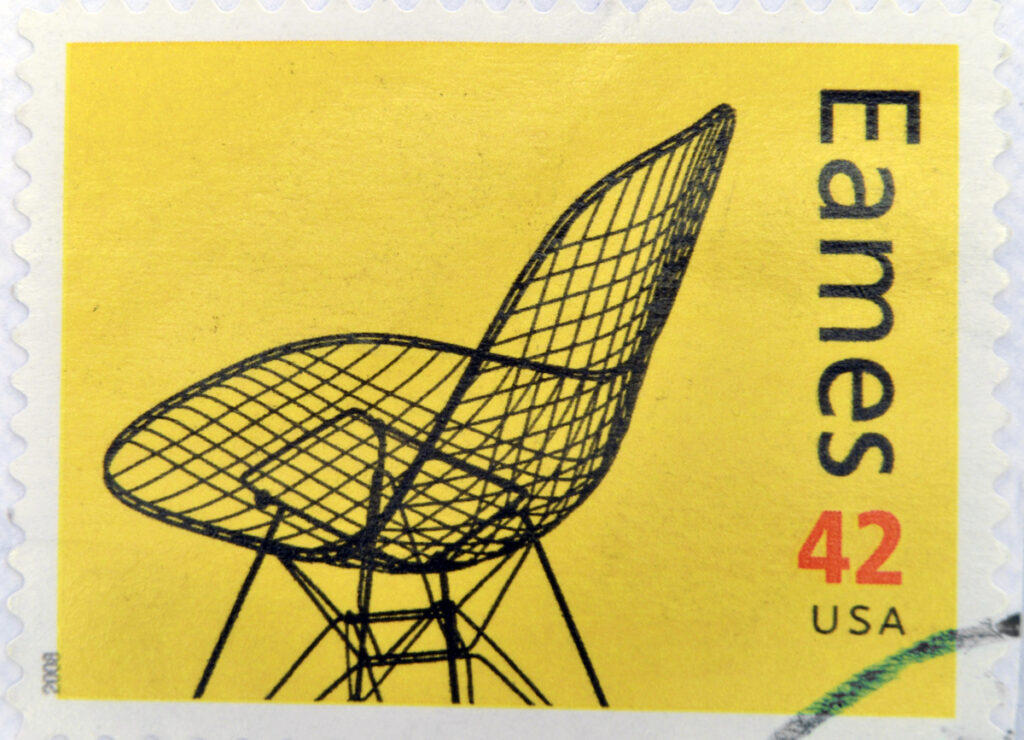 Eames Wire Chair on a yellow postage stamp